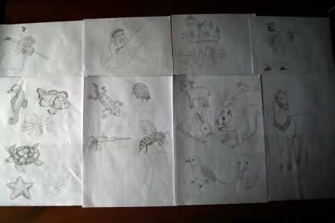 "Desene dupa modele din cartea ""Invata sa desenezi"" (animale si personaje de basm)"