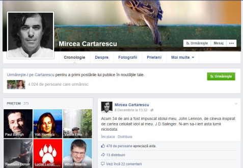 Cartarescu Facebook